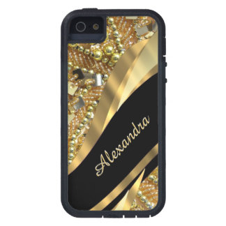 Chic elegant black and gold bling personalized iPhone 5 cases