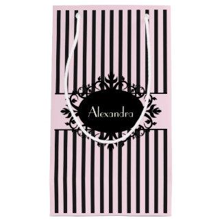 Chic Elegant Black and Pink Ornate Parisian Stripe Small Gift Bag