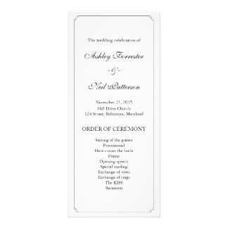 Chic Elegant Black White Wedding Program Customized Rack Card