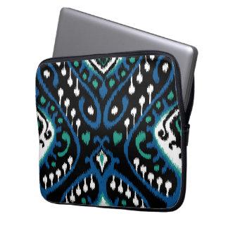 Chic elegant blue green black tribal ikat print laptop sleeve