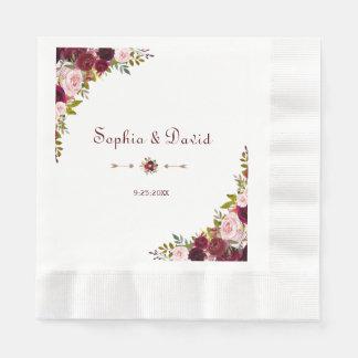 Chic Elegant Burgundy Marsala Floral Wedding Disposable Serviettes