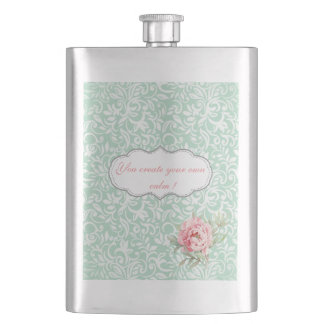Chic Elegant  Damask, Roses,Motivational Message Hip Flask