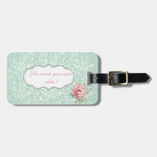 Chic Elegant  Damask, Roses,Motivational Message Luggage Tag