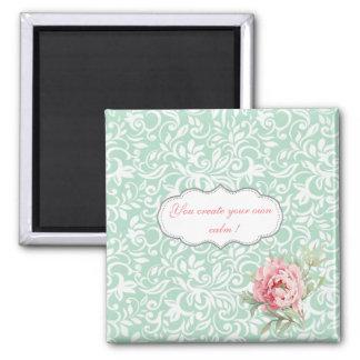 Chic Elegant  Damask, Roses,Motivational Message Magnet