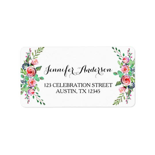 Chic Elegant Floral Rose Wedding RSVP Address Label