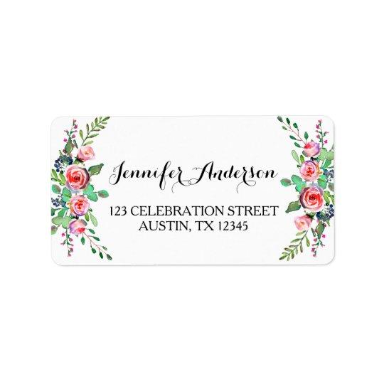 Chic Elegant Floral Rose Wedding RSVP Address Label