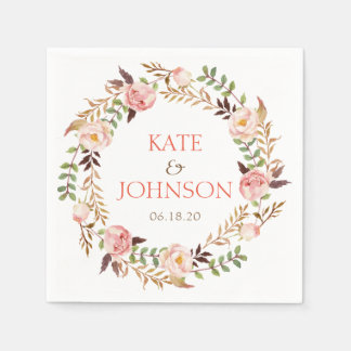 Chic Elegant Floral Wreath Personalized Wedding Paper Napkins