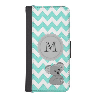 Chic elegant girly funny koala chevron monogram iPhone SE/5/5s wallet case