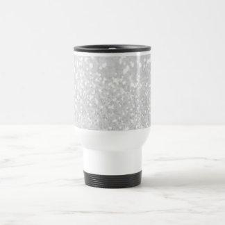 chic elegant glamour White Faux Glitter Stainless Steel Travel Mug
