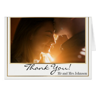 Chic Elegant Gold Border Photo Thank You Card