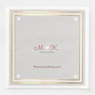 chic elegant monogram wed celebration reception paper napkin
