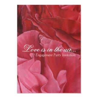 "Chic elegant red roses engagement party invites 4.5"" x 6.25"" invitation card"