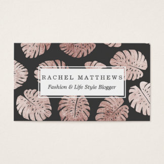 Chic Elegant Rose Gold Swiss Cheese Plant Leaves Business Card