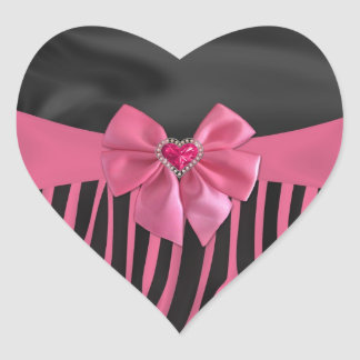 chic elegant silk fabric effects zebra print heart sticker