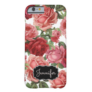 Chic Elegant Vintage Pink, Red, roses floral name Barely There iPhone 6 Case