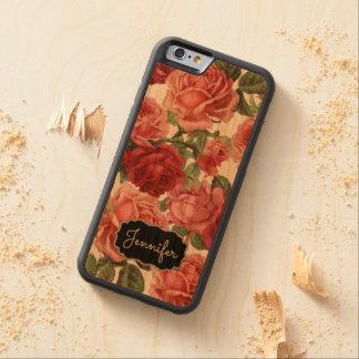 Chic Elegant Vintage Pink Red roses floral name Carved Cherry iPhone 6 Bumper Case