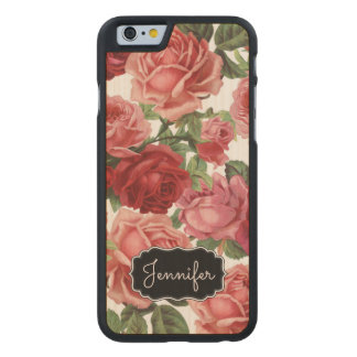 Chic Elegant Vintage Pink Red roses floral name Carved Maple iPhone 6 Case