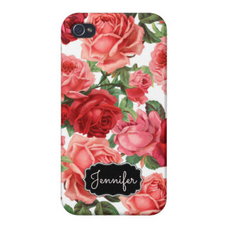 Chic Elegant Vintage Pink Red roses floral name Case For iPhone 4