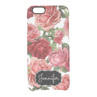 Chic Elegant Vintage Pink Red roses floral name Clear iPhone 6/6S Case