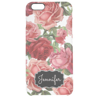 Chic Elegant Vintage Pink Red roses floral name Clear iPhone 6 Plus Case