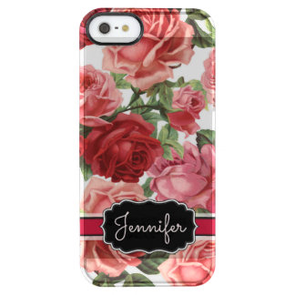 Chic Elegant Vintage Pink Red roses floral name Clear iPhone SE/5/5s Case