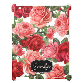 Chic Elegant Vintage Pink Red roses floral name Cover For The iPad