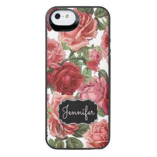 Chic Elegant Vintage Pink Red roses floral name iPhone SE/5/5s Battery Case
