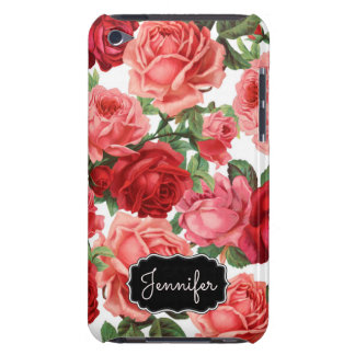 Chic Elegant Vintage Pink Red roses floral name iPod Touch Cover