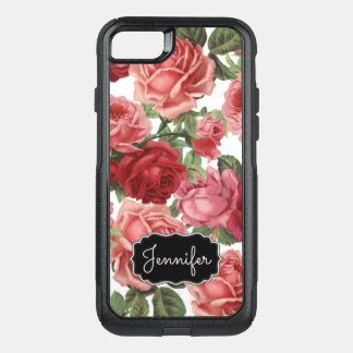 Chic Elegant Vintage Pink, Red, roses floral name OtterBox Commuter iPhone 7 Case