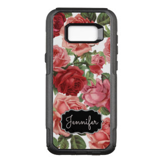 Chic Elegant Vintage Pink Red roses floral name OtterBox Commuter Samsung Galaxy S8+ Case
