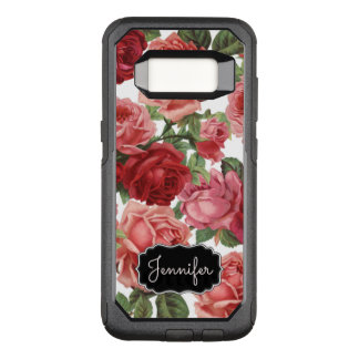 Chic Elegant Vintage Pink, Red, roses floral name OtterBox Commuter Samsung Galaxy S8 Case