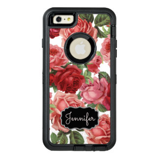 Chic Elegant Vintage Pink Red roses floral name OtterBox Defender iPhone Case