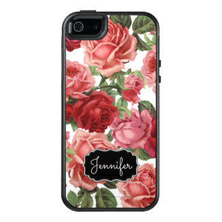 Chic Elegant Vintage Pink, Red, roses floral name OtterBox iPhone 5/5s/SE Case