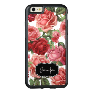 Chic Elegant Vintage Pink Red roses floral name OtterBox iPhone 6/6s Plus Case