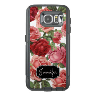 Chic Elegant Vintage Pink Red roses floral name OtterBox Samsung Galaxy S6 Case