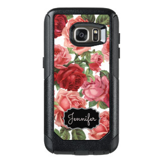 Chic Elegant Vintage Pink, Red, roses floral name OtterBox Samsung Galaxy S7 Case