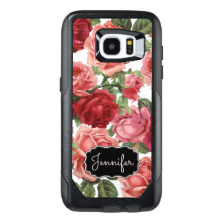 Chic Elegant Vintage Pink Red roses floral name OtterBox Samsung Galaxy S7 Edge Case