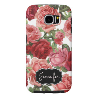 Chic Elegant Vintage Pink Red roses floral name Samsung Galaxy S6 Cases