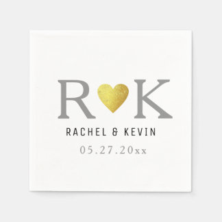 chic elegant wedding monogram paper napkin