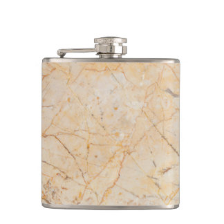 Chic Elegant White and Black Marble Pattern Hip Flask