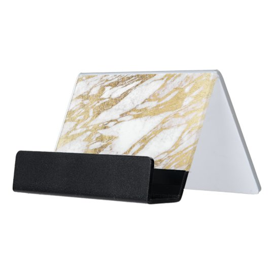 Chic elegant white and gold marble pattern desk business for Chic business card holder