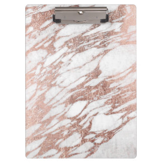 Chic Elegant White and Rose Gold Marble Pattern Clipboard