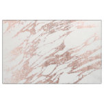 Chic Elegant White and Rose Gold Marble Pattern Fabric