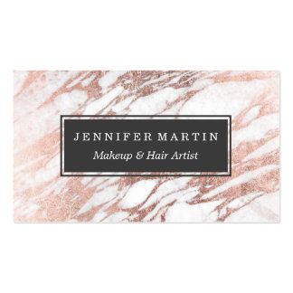 Chic Elegant White and Rose Gold Marble Pattern Pack Of Standard Business Cards