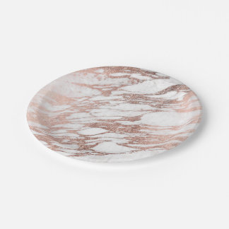 Chic Elegant White and Rose Gold Marble Pattern Paper Plate