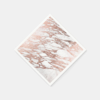 Chic Elegant White and Rose Gold Marble Pattern Paper Serviettes