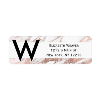 Chic Elegant White and Rose Gold Marble Pattern Return Address Label