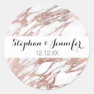 Chic Elegant White and Rose Gold Marble Pattern Round Sticker