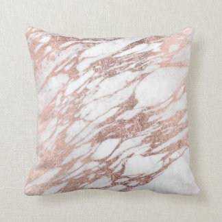 Chic Elegant White and Rose Gold Marble Pattern Throw Cushion