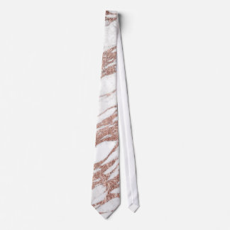 Chic Elegant White and Rose Gold Marble Pattern Tie